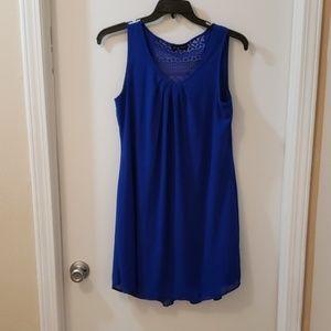 Blue sheath dress with lace back detail